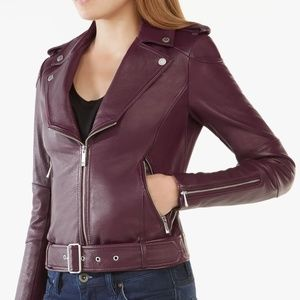 BCBGMAXAZRIA Miley Belted Genuine Leather Jacket